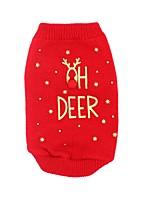 baratos -Cachorros / Gatos Súeters Roupas para Cães Rena / Slogan Vermelho Têxtil Ocasiões Especiais Para animais de estimação Masculino / Feminino Dia Das Bruxas / Natal