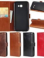 Недорогие -Кейс для Назначение SSamsung Galaxy A5(2018) / A3 (2017) / A5 (2017) Кошелек / Бумажник для карт / со стендом Чехол Однотонный Твердый Настоящая кожа