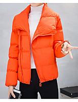 Недорогие -Жен. На выход Классический Однотонный Обычная На подкладке, Полиэстер Длинный рукав Зима Рубашечный воротник Оранжевый / Розовый / Серый L / XL / XXL