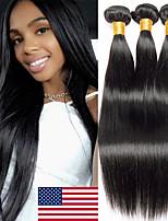Недорогие -3 Связки Бразильские волосы Малазийские волосы Прямой 8A Натуральные волосы Необработанные натуральные волосы Подарки Косплей Костюмы Человека ткет Волосы 8-28 дюймовый Естественный цвет
