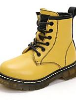 Недорогие -Девочки Обувь Кожа Зима Армейские ботинки Ботинки Шнуровка для Дети / Для подростков Черный / Желтый / Зеленый / Сапоги до середины икры