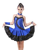 baratos -Dança Latina Vestidos Para Meninas Treino / Espetáculo Elastano / Lycra Combinação / Cristal / Strass Sem Manga Vestido