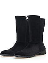 Недорогие -Жен. Синтетика Наступила зима На каждый день / Минимализм Ботинки На плоской подошве Круглый носок Сапоги до середины икры Черный / Серый