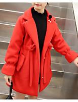 Недорогие -Дети Девочки Классический Однотонный Длинный рукав Обычная Хлопок / Полиэстер Куртка / пальто Зеленый 140
