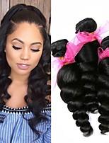Недорогие -3 Связки Бразильские волосы Бирманские волосы Свободные волны 8A Натуральные волосы Необработанные натуральные волосы Подарки Косплей Костюмы Головные уборы 8-28 дюймовый Естественный цвет