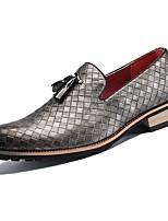 Недорогие -Муж. Официальная обувь Синтетика Весна & осень На каждый день / Английский Мокасины и Свитер Нескользкий Черный / Серебряный / Коричневый