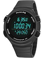 baratos -Homens Relógio Esportivo Japanês Digital 30 m Impermeável Calendário Dois Fusos Horários Silicone Banda Digital Fashion Preta / Cinza - Preto Cinzento