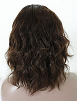Недорогие -Не подвергавшиеся окрашиванию человеческие волосы Remy Полностью ленточные Парик Бразильские волосы Волнистый Естественные кудри Темно-коричневый Парик Средняя часть Боковая часть 130% Плотность волос
