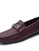 Недорогие -Муж. Кожаные ботинки Наппа Leather Осень На каждый день / Английский Мокасины и Свитер Массаж Черный / Винный / Для вечеринки / ужина