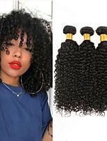 Недорогие -3 Связки Бразильские волосы Перуанские волосы Kinky Curly 8A Натуральные волосы Необработанные натуральные волосы Подарки Косплей Костюмы Человека ткет Волосы 8-28 дюймовый Естественный цвет