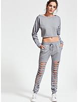 baratos -Mulheres Moda de Rua Conjunto Sólido Calça