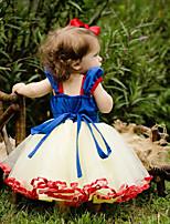 Недорогие -малыш Девочки Классический Однотонный Длинный рукав Хлопок / Полиэстер Платье Синий 100