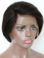 Недорогие -Не подвергавшиеся окрашиванию человеческие волосы Remy Лента спереди Парик Бразильские волосы Естественный прямой Парик Стрижка каскад Короткий Боб 130% Плотность волос / Природные волосы
