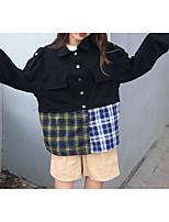 Недорогие -Жен. На выход Классический Обычная Джинсовая куртка, Контрастных цветов Отложной Длинный рукав Полиэстер Синий / Черный S / M / L