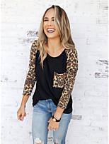 baratos -Mulheres Camiseta Básico Patchwork, Estampa Colorida