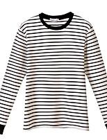 Недорогие -женская хлопчатобумажная футболка - полосатая шея