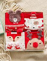 Недорогие -4 пары Жен. Носки Standard Рождество Избавляет от стресса Простой стиль Хлопок EU36-EU42