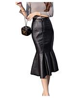 Недорогие -женская искусственная кожа midi bodycon юбки - сплошной цвет