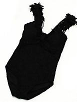 Недорогие -Жен. Классический На бретелях Белый Черный Смелые Закрытый купальник Купальники - Однотонный Кружева / Открытая спина / Оборки M L XL / Сексуальные платья