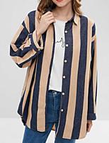 Недорогие -женская тощая рубашка - полосатый воротник рубашки