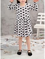 Недорогие -Дети Девочки Милая Повседневные Горошек Длинный рукав До колена Полиэстер Платье Серый 110