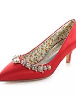 abordables -Femme Escarpins Satin Printemps / Automne Chaussures de mariage Talon Bas Bout pointu Cristal Rouge / Mariage / Soirée & Evénement