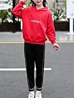 Недорогие -Дети Девочки Классический Повседневные / Спорт Собака Однотонный Длинный рукав Обычный Обычная Хлопок / Искусственный шёлк Набор одежды Красный 140