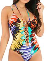 abordables -Femme Basique A Bretelles Arc-en-ciel Underwire Slip Brésilien Bikinis Maillots de Bain - Géométrique Imprimé S M L