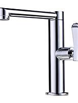 Недорогие -Ванная раковина кран - Новый дизайн Хром Настольная установка Одной ручкой одно отверстие