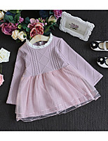 Недорогие -Дети Девочки Классический Однотонный Длинный рукав Выше колена Платье Зеленый 100