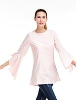 Недорогие -Жен. Оборки Рубашка Деловые / Классический Однотонный