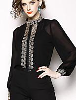 Недорогие -Жен. Рубашка Классический Однотонный / Контрастных цветов