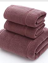 abordables -Qualité supérieure Serviette de bain, Couleur Pleine Polyester / Coton Salle de  Bain 3 pcs