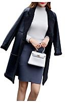 Недорогие -Жен. Повседневные Классический Однотонный Длинная Парка, Полиэстер Длинный рукав Рубашечный воротник Черный / Серый M / L / XL