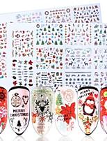 Недорогие -1 pcs 3D наклейки на ногти Наклейка для переноса воды Elk / Снежинка маникюр Маникюр педикюр Многофункциональный / Лучшее качество модный / Мода Повседневные