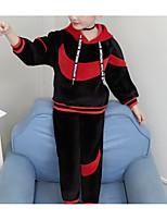 Недорогие -Дети Девочки Классический Повседневные Однотонный Длинный рукав Обычный Обычная Хлопок / Полиэстер Набор одежды Черный 140