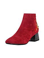 Недорогие -Жен. Синтетика Наступила зима На каждый день / Минимализм Ботинки На толстом каблуке Закрытый мыс Ботинки Серый / Желтый / Красный
