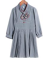 Недорогие -Дети Девочки Классический Повседневные Однотонный Рукав 3/4 Платье Зеленый 150