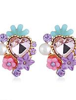 abordables -Femme Classique Boucles d'oreilles - Fleur Mode Violet / Arc-en-ciel / Bleu Pour Soirée Quotidien