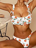 Недорогие -Жен. На бретелях Белый Оранжевый Смелые Бикини Купальники - Цветочный принт / Геометрический принт S M L / Сексуальные платья