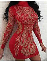 abordables -Femme Sophistiqué Au dessus du genou Mince Moulante Robe Couleur Pleine Col Roulé Noir Rouge M L XL Manches Longues