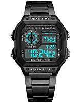 baratos -Homens Relógio Esportivo Japanês Digital 30 m Impermeável Calendário Dois Fusos Horários Silicone Banda Digital Fashion Preta / Prata - Preto Prata