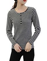 Недорогие -женская хлопчатобумажная тонкая футболка - полосатая шея