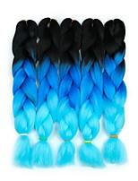 Недорогие -Волосы для кос Кудрявый Спиральные плетенки / Крупные косы / Дреды / Faux Locs Искусственные волосы 5 предметов косы волос Синий / Розовый 24 дюймовый 60 см