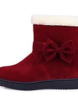 Недорогие -Жен. Замша / Микроволокно Зима Ботинки На плоской подошве Закрытый мыс Ботинки Черный / Винный