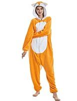 abordables -Adulte Pyjamas Kigurumi Renard Combinaison de Pyjamas Flanelle Orange Cosplay Pour Homme et Femme Pyjamas Animale Dessin animé Fête / Célébration Les costumes