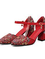 abordables -Femme Matière synthétique Printemps été Doux / Chinoiserie Chaussures de mariage Talon Bottier Bout fermé Rouge / Mariage / Soirée & Evénement