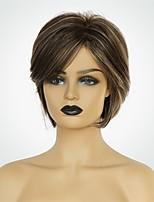 Недорогие -Человеческие волосы без парики Натуральные волосы Естественный прямой Стрижка боб Модный дизайн / Новый дизайн / Природные волосы Коричневый Короткие Без шапочки-основы Парик Жен.