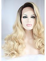 Недорогие -Синтетические кружевные передние парики Естественные кудри Золотистый Стрижка каскад 130% Человека Плотность волос Искусственные волосы 26 дюймовый Женский Золотистый / Черный Парик Жен. Средняя длина