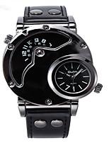 Недорогие -Муж. Спортивные часы Кварцевый Натуральная кожа Материал ремешка Черный / Шоколадный С двумя часовыми поясами Повседневные часы Аналого-цифровые На каждый день - Черный Кофейный Черный / Белый